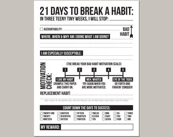 21 days to break a bad habit: printable pdf sheet