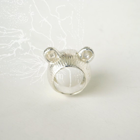 The Silver Teddy Bear Ears Ring size 6 - I'm All Ears Series
