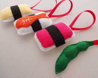 Felt Sushi Christmas Ornaments - Ebi Shrimp, Spam Musubi, Tamago Egg, Edamame