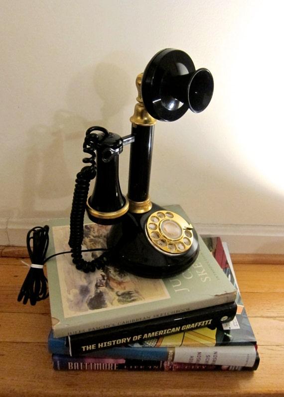 1970s candlestick phone repro retro speakeasy style black gold. Black Bedroom Furniture Sets. Home Design Ideas
