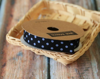 BLACK with WHITE DOTS fabric ribbon reel 3m spool