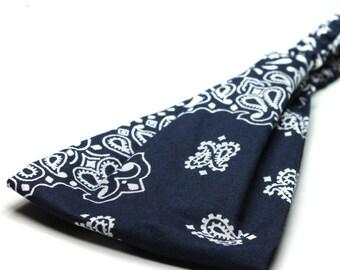 Women's Headscarf Bandana Headband Navy Blue Hair Band Headscarves Head Scarf Head Wrap Bandana (#4020) S M L X