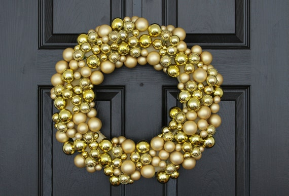 Golden Splendor Christmas Wreath, Christmas Wreath For Door, Gold Christmas Wreath, Unique Christmas Wreath