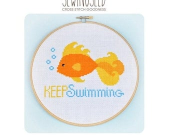 Goldfish, Keep Swimming Cross Stitch Pattern Instant Download