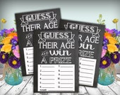 Chalkboard Bridal Shower Guess Their Age Card Printable 5x7 PDF Instant Download Rustic Shabby Chic Woodland