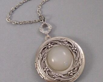 Woodland Moon,Moonstone,,Locket,Antique Locket,Silver Locket,Moon,White Stone,Moonstone Necklace,Moonstone Locket.Genuine.Valleygirldesigns