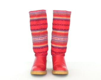 Vintage Boots * Red Woven Boots * Chunky Heel Boots * Mid-Calf * size 8