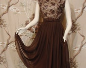 DRESS - Cocktail - Sequined - Brown - Circa 1960's - Georgia Wells for G.W. Cohen - SM/MED