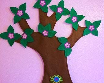 SALE! Baby Wall Hanging Fairy Tree - Fairy Door Baby Nursery Wall Decoration - Felt Tree Wall Hanging