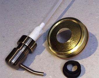 Mason jar soap pump brass metal pump tight sealing lid & collar