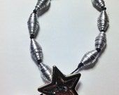 Silver Star Paper Bead Bracelet, Silver Bracelet, Boho Bracelet, Handmade Jewelry, Knotted Bracelet, Recycled Paper Bracelet