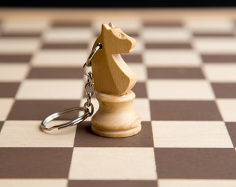 Chess piece key-chain - White knight - Wood wooden key-ring white horse (recycled/upcycled/reclaimed game)