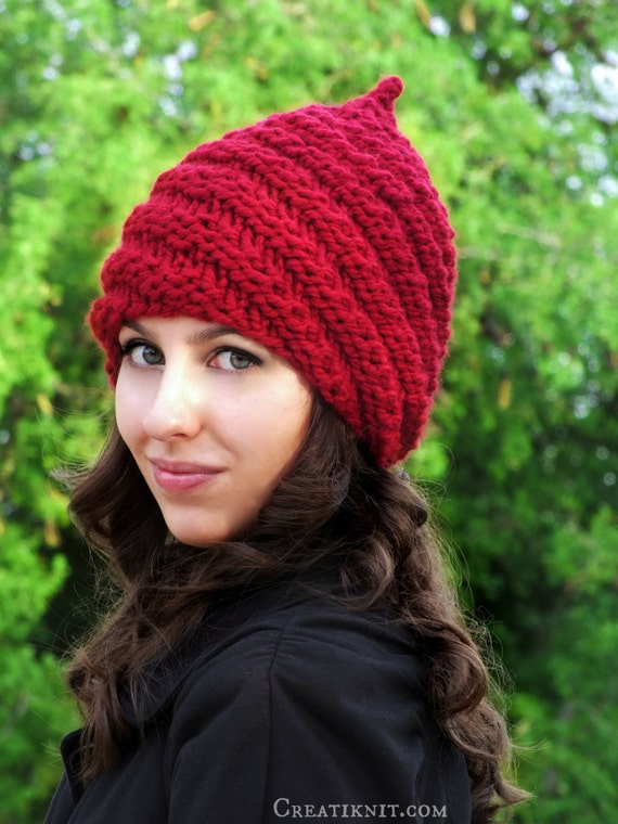 Adult Gnome Hat Knitting Pattern English Deutsch by CreatiKnit