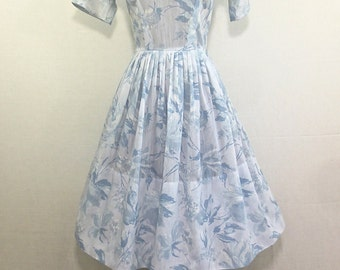 "Vintage 1950's Sweet  Sheer ""Town & Country"" Party Dress White and Blue w/Roses"