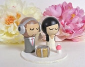 Drummer Boy and Cupcake Girl DJ Music Themed WEDDING Cake Topper Custom Kokeshi Spool Doll 3D Clay Headphones Record Music Cake Topper Cute