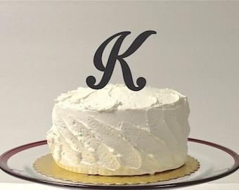 MONOGRAM INITIAL K- Wedding Cake Topper  Personalized Monogrammed Wedding Cake Topper Custom Cake Topper Any Letter