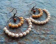 Beaded hoops, bohemain earrings, light brown, ombre, wire wrapped earrings, boho indie style, bohemian jewelry, gypsy earrings