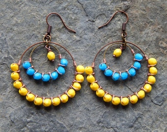 Beaded Hoop earrings, chandelier earrings, wire wrapped hoops, turquoise blue, bright yellow, gypsy hoops, boho earrings, bohemian jewelry