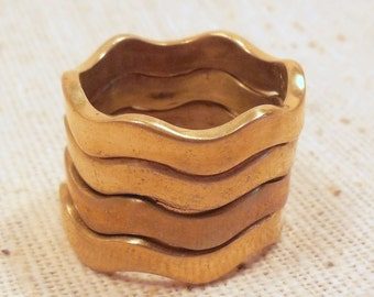Raw Polished Brass Stacking Wave Rings -Size 6 (4) Steampunk, Minimalist, Trendy