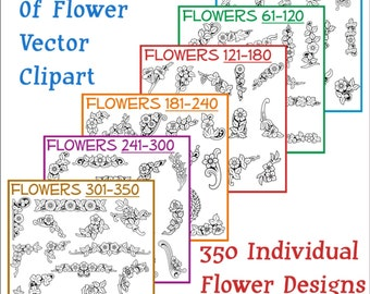 Flowers Vector Clipart Collection 350 Designs on CD