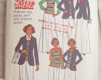 Simplicity 7930 Jacket Skirt Top and Pants 1970s Vintage Sewing Pattern Bust 34