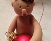 Polymer baby Christmas ornament