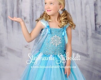 SNOWFLAKE QUEEN Frozen Elsa Inspired Tutu Dress with Snowflake Cape - X Large 7/8
