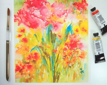 Garden View, Watercolor Fine Art Print, Watercolor Flowers, 8x10