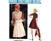 Valentino Pleated Coat Dress & Jacket Pattern 70s Vogue Couturier Design Vintage Sewing Pattern 2844 Bust 34 inches UNCUT FF