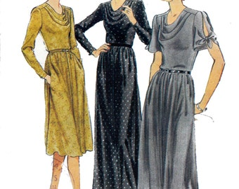70s Cowl Neck Slash Sleeve Dress Pattern Style 2872 Vintage Sewing Pattern Size 16 Bust 38 inches