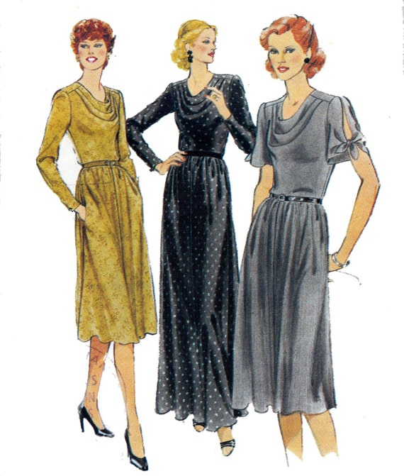 Cowl Neckline Wedding Gown Pattern: 70s Cowl Neck Slash Sleeve Dress Pattern By