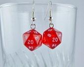Mini Red D20 Earrings Dice Earrings, Geekery, Gamer Earrings, Dungeons and Dragons Earrings