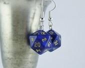 Mini D20 Earrings Blue, Dice Earrings, Dungeons and Dragons Earrings, Nerdy Earrings, Geekery, Gamer Earrings