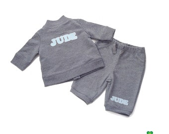 Personalized newborn baby infant jacket sweatpants pants gift set - coming home outfit or baby shower gifts for baby boy