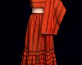 Vintage 70s 80s Skirt and Shawl Orange & Brown Taffeta Matching Wrap