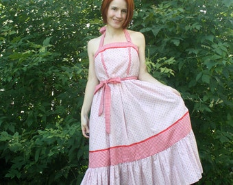 Gunne Sax Halter Dress Floral Country Print Summer Maxi 70s Vintage S 11