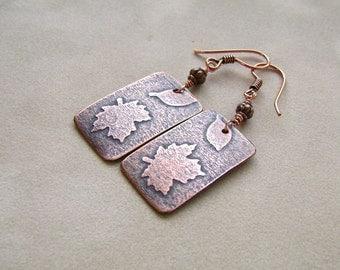 Leaf Earrings, Copper Jewelry, Bar Earrings, Handmade Jewelry, Autumn Earrings, Maple Leaf Earrings, Fall Fashion, Falling Leaves, 856