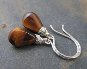 Tigers Eye Briolette Earrings -  Sterling Silver French Hook Dangles
