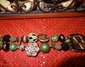 Watch, Copper and Dark Green interchangable beaded watch band with watch face, womens watch, teen watch