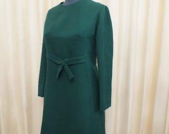 Vintage 60s Handmade in Australia Mod Emerald Green Wool Winter Long Sleeve Mini Dress