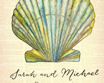 Small (Sarah and Michael)  Sea Shell Beach Wedding Signature Guest Book for Up to 150 guests: 16'' x 20'' Watercolor Print Drymounted