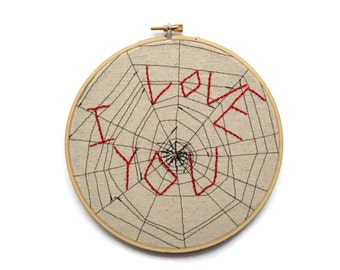 Spiderweb - Seven Inch Embroidery Hoop Wall Art - I Love You - Handmade - Customizable