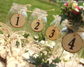 Table Number Tokens, Mason Jar Rustic Wedding Table Seating Display