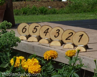 Table Number Centerpiece Log Wood Bark Tea Light Rustic Wedding Candles Decor Combo