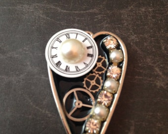 Watch Face, Pearl, and Gears Steampunk Necklace