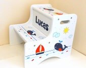 Large Personalized Two Step Stool with Navy and Red Whales and Sailboats