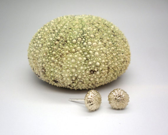 Tiny bronze sea urchins earrings with sterling silver posts, studs