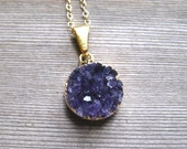 Amethyst Druzy Pendant, Purple Amethyst Bezel Set Druzy Necklace, 24K Gold Vermeil, February Birthstone Jewelry, Round Drusy