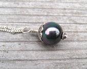 Black Pearl Necklace, Peacock Sea Shell Pearl, Sterling Silver, Single Pearl Pendant, Minimalist Jewelry, June Birthstone