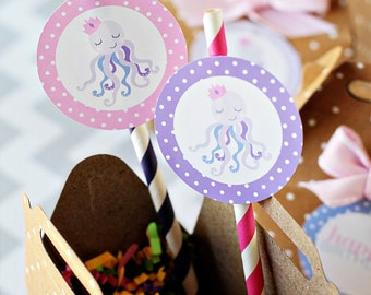 Octopus Queen - Printable Party Tags - Cupake Toppers - Printable Girl Octopus Party Favors -Octopus Party Party Printables
